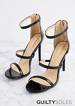 Black Patent Triple Strap Heel by GuiltySoles