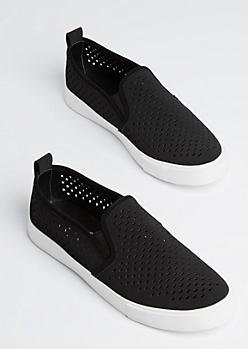 Black Cutout Slip On Sneaker