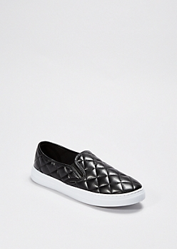 Black Quilted Skate Shoe By Qupid®