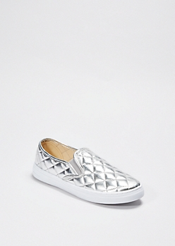 Silver Quilted Skate Shoe By Qupid®