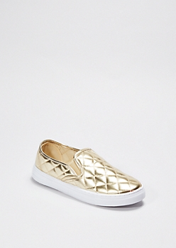 Gold Metallic Quilted Skate Shoe By Qupid®