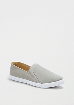 Gray Faux Snakeskin Skate Shoe By Qupid®