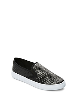Black Woven Skate Shoe By Qupid®