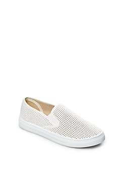 White Perforated Skate Shoe By Qupid®