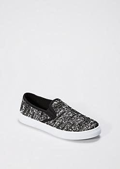 Black Metallic Tweed Skate Shoe By Qupid®