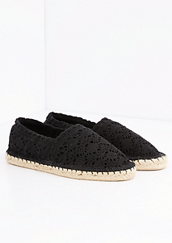 Black Crochet Espadrille Flat By Qupid®