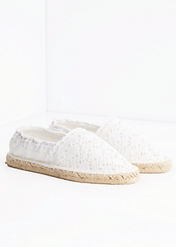 White Crochet Espadrille Flat By Qupid®