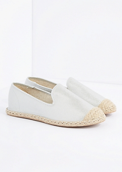 Silver Espadrille Flat By Qupid®