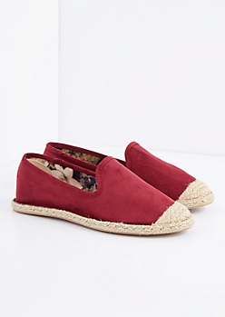 Burgundy Espadrille Flat By Qupid®