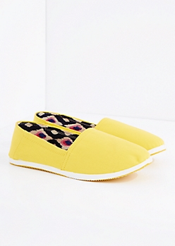 Yellow Canvas Espadrille Flat By Qupid®