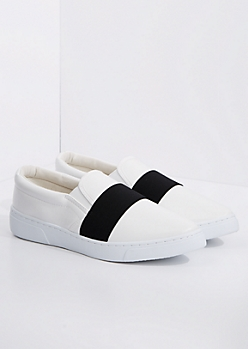 White Banded Low Top Sneaker By Qupid