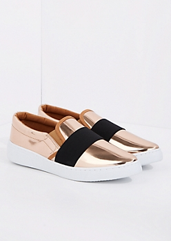 Rose Gold Banded Low Top Sneaker By Qupid