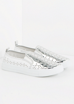 Silver Metallic Cutout Sneaker By Qupid