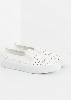 White Cutout Sneaker By Qupid