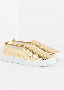 Gold Metallic Cutout Sneaker By Qupid