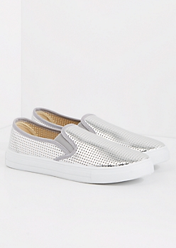Silver Metallic Perforated Sneaker