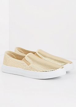 Gold Metallic Perforated Sneaker