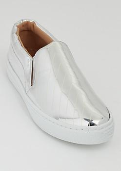 Silver Chevron Skate Shoes