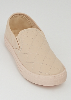 Nude Quilted Skate Shoes By Qupid