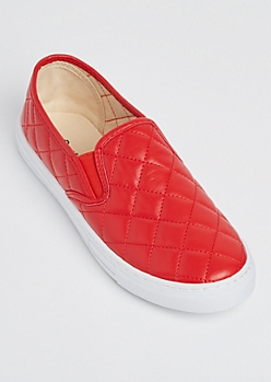 Red Quilted Skate Shoe By Qupid