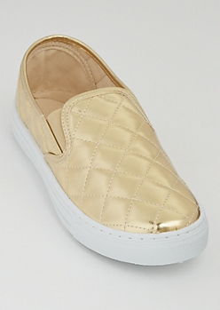 Gold Quilted Skate Shoes By Qupid