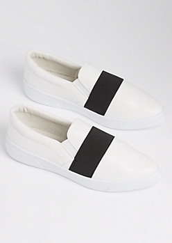 White Striped Skate Shoe By Qupid