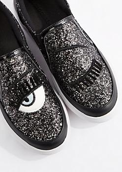 Black Glitter Winking Skate Shoe