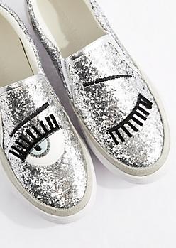 Silver Glitter Winking Skate Shoe
