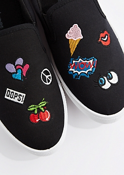 Black Embroidered Patch Skate Shoe by Wild Diva