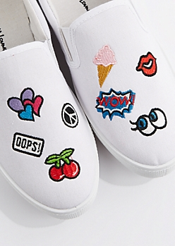 White Embroidered Patch Skate Shoe by Wild Diva