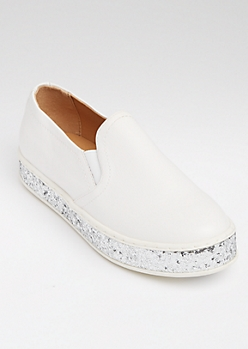 White Faux Leather Glitter Platform Sneakers