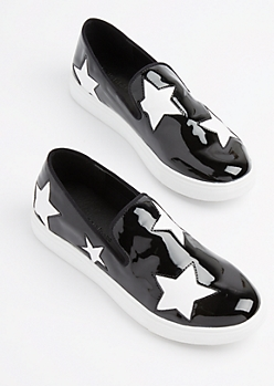 Black Patent Star Sneaker by Wild Diva