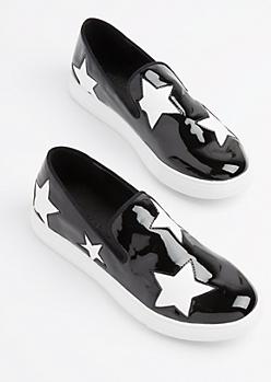 Black Patent Star Sneaker by Wild Diva
