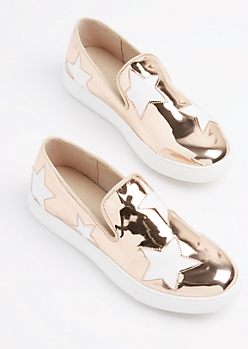 Rose Gold Patent Star Sneaker by Wild Diva