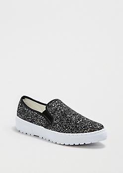 Black Glittered Skate Shoe By Liliana®