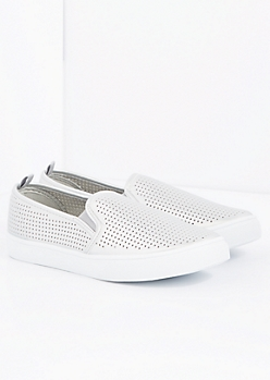 Silver Perforated Skate Shoe