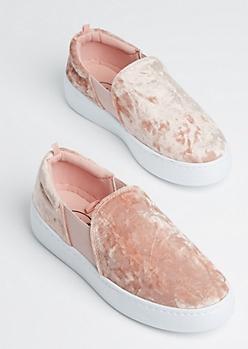 Pink Velvet Flatform Slip On Sneaker