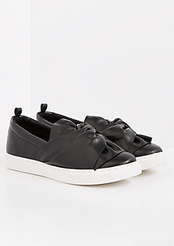 Black Faux Leather Knotted Sneaker