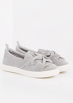 Gray Faux Suede Knotted Sneaker