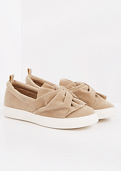 Taupe Faux Suede Knotted Sneaker