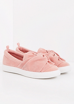 Pink Faux Suede Knotted Sneaker
