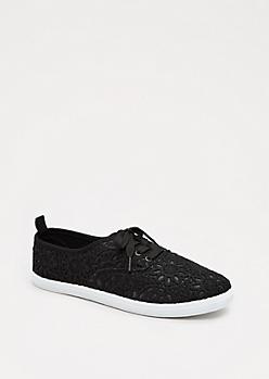 Black Crochet Medallion Sneaker