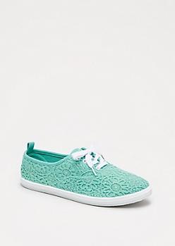 Mint Green Crochet Medallion Sneaker