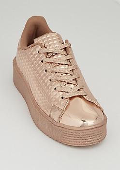 Rose Gold Platform Sneakers