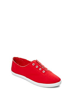 Red Laceless Vintage Sneaker By Wild Diva®