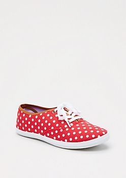 Red Polka Dotted Sneaker by Wild Diva®