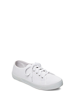 White Canvas Sneaker by Wild Diva®