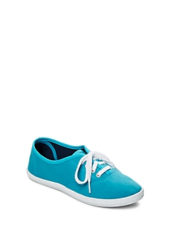 Dark Turquoise Color Bomb Canvas Sneaker By Wild Diva®