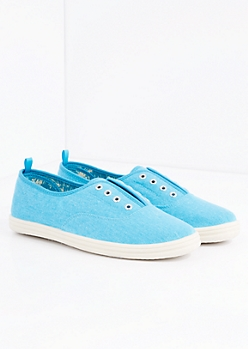 Light Blue Laceless Washed Canvas Sneaker