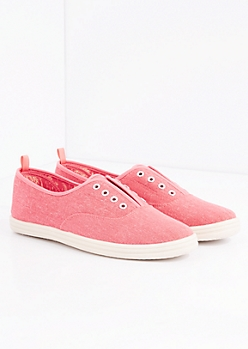 Coral Laceless Washed Canvas Sneaker